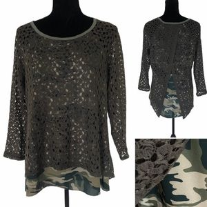 Crochet & Camo pull over top with open back